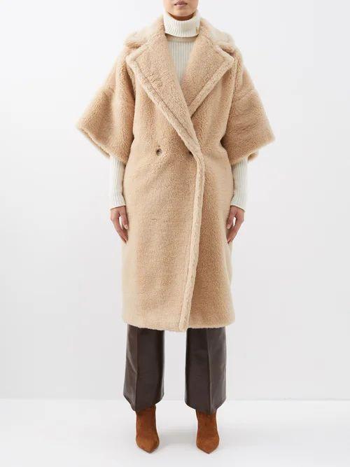 Prada - Double Breasted Peak Lapel Wool Blend Coat - Womens - Navy