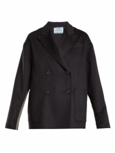 Prada - Double Breasted Peak Lapel Wool Blend Coat - Womens - Navy
