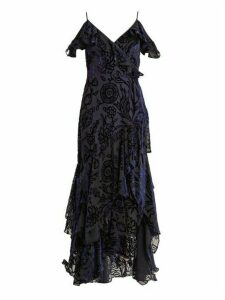 Peter Pilotto - Deep V Neck Floral Devoré Gown - Womens - Navy Print