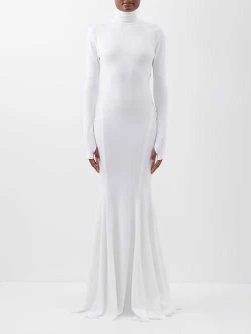 Staud - Dusk Cotton Blend Dress - Womens - Blue