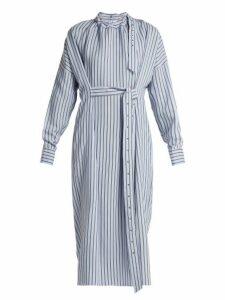 Tibi - Belted Striped Dress - Womens - Blue Stripe