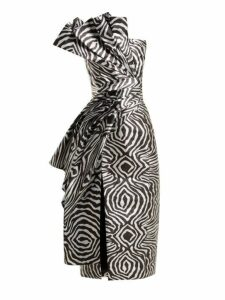 Halpern - Metallic Zebra Bustier Midi Dress - Womens - Silver Multi