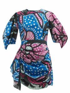 Vetements - Paisley And Polka Dot Print Umbrella Skirt - Womens - Black Multi