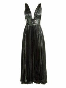 Maria Lucia Hohan - Sada Pleated Silk Blend Maxi Dress - Womens - Dark Blue