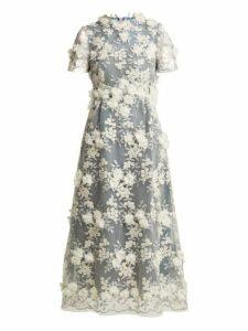 Luisa Beccaria - Floral Appliqué Tulle Midi Dress - Womens - Blue White