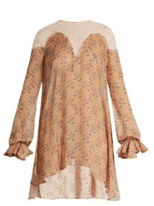 Katie Eary - Snake Print Silk Chiffon Dress - Womens - Beige Multi