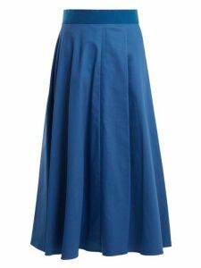 Sportmax - Fiumana Cotton Blend Midi Skirt - Womens - Blue Stripe