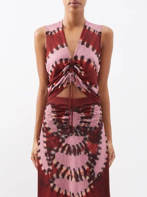 Stella Mccartney - Caban Elasticated Waist Crepe Trench Coat - Womens - Blue