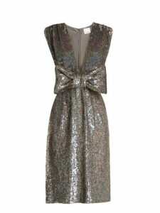Ashish - Bow Front Sequin Embellished Sleeveless Dress - Womens - Dark Grey