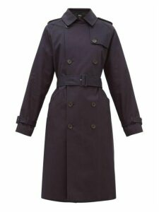 A.p.c. - Greta Double Breasted Cotton Trench Coat - Womens - Dark Navy