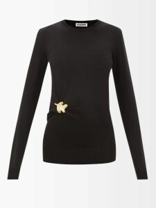 Raey - Zip Through Japanese Jersey Hooded Sweatshirt - Womens - Black