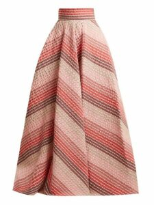 Luisa Beccaria - Striped Jacquard Panelled Skirt - Womens - Pink Stripe