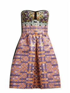Mary Katrantzou - Metallic Circle Jacquard Dress - Womens - Pink Multi