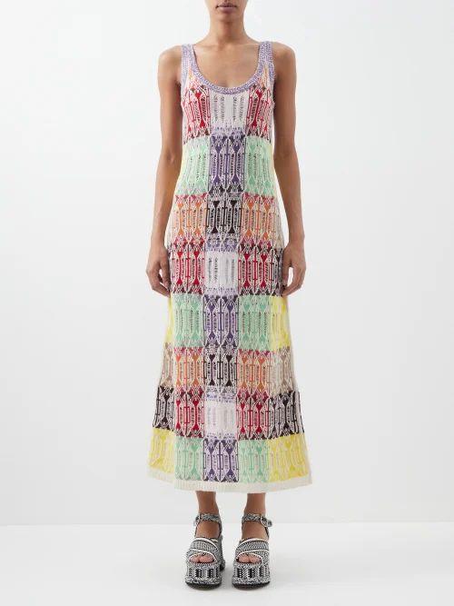 Balenciaga - Twisted Sleeve Floral Print Crepe Blouse - Womens - Multi