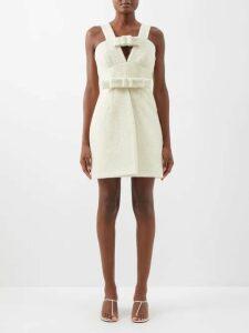 Dundas - Cherry Print Silk Georgette Mini Dress - Womens - Black Pink