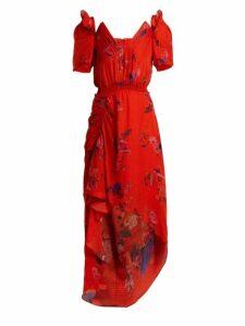 Preen By Thornton Bregazzi - Dana Floral Print Silk Jacquard Dress - Womens - Red Multi