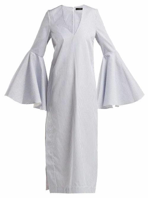 Ellery - Hildeberg V Neck Cotton Dress - Womens - Light Grey