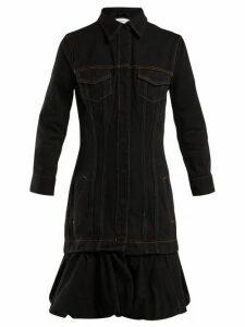 Marques'almeida - Drop Waist Bubble Hem Denim Dress - Womens - Black