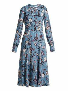 Erdem - Carwen Tulip Dream Print Crepe Midi Dress - Womens - Blue Multi