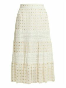 Temperley London - Wondering Lace Insert Fil Coupé Chiffon Midi Skirt - Womens - White
