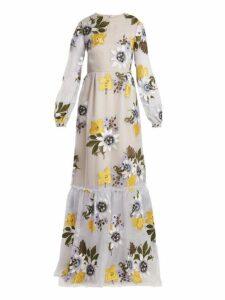 Erdem - Ora Floral Embroidered Silk Organza Gown - Womens - Blue Multi