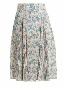 Prada - Sable Floral Print Crepe Skirt - Womens - Blue Print