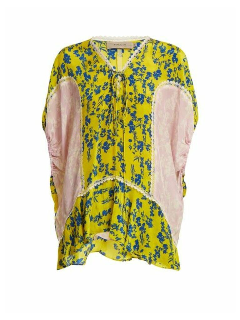 Preen Line - Ivy Floral Print Lace Trimmed Blouse - Womens - Yellow Multi