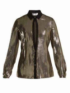 Lanvin - Striped Silk Shirt - Womens - Black Gold