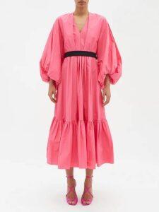 Valentino - Round Neck Velvet Gown - Womens - Coral