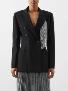 Redvalentino - Houndstooth Wool Blend Mini Skirt - Womens - Camel