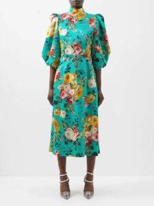 Missoni - Floral Print Silk Dress - Womens - Yellow Print