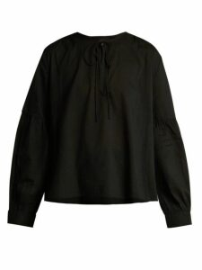 Nili Lotan - Anla Tie Neck Cotton Blouse - Womens - Black