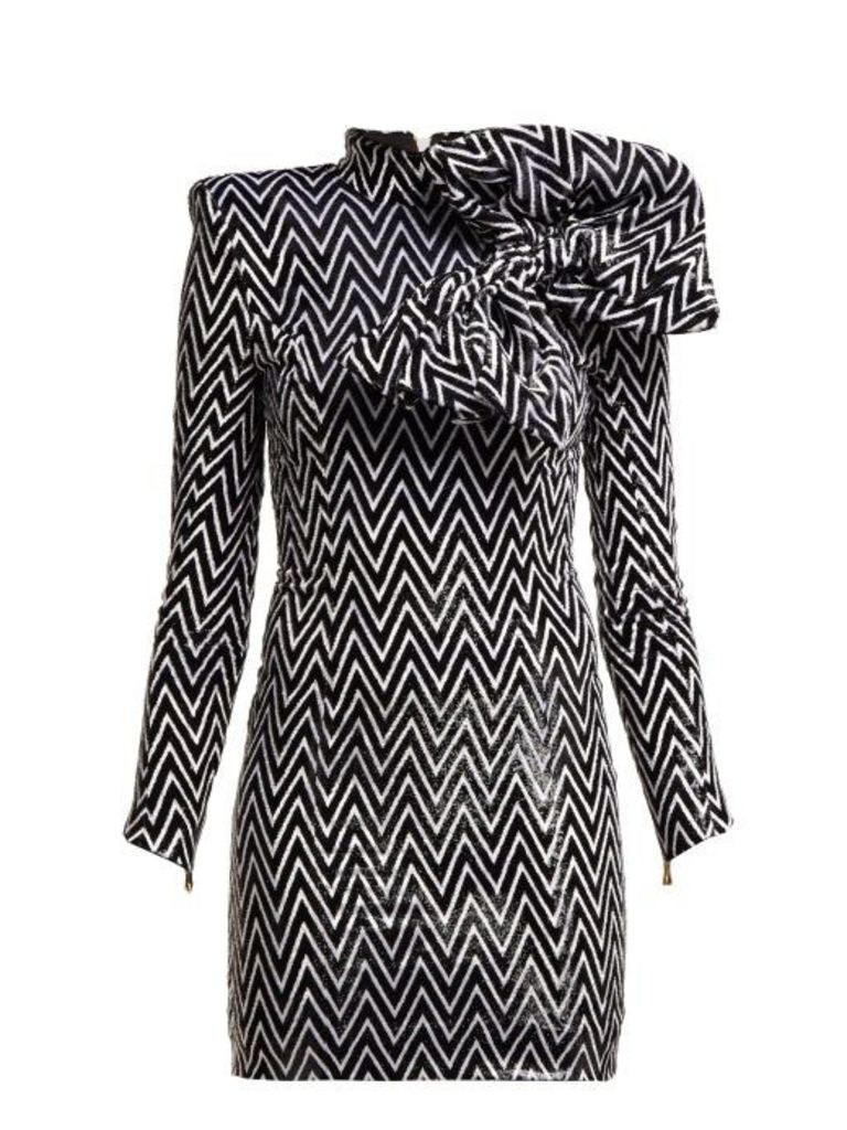 Balmain - Chevron Striped Bow Embellished Mini Dress - Womens - Black White
