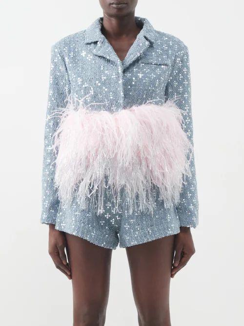 Tibi - Paisley Print Cotton Skirt - Womens - Navy Multi