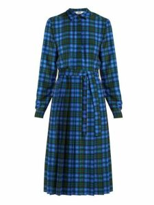 Msgm - Checked Midi Dress - Womens - Blue