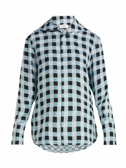 Wales Bonner - Checked Jacquard Shirt - Womens - Blue White
