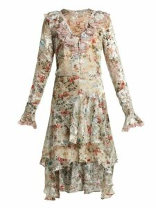 Preen By Thornton Bregazzi - Doris Floral Print Silk Blend Devoré Dress - Womens - Ivory Multi