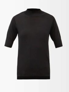 By Walid - Margot Floral Print Silk Midi Skirt - Womens - Navy Print