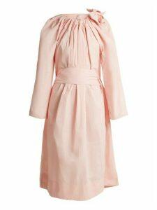 Maison Rabih Kayrouz - Tie Neck Gathered Paper Taffeta Dress - Womens - Light Pink