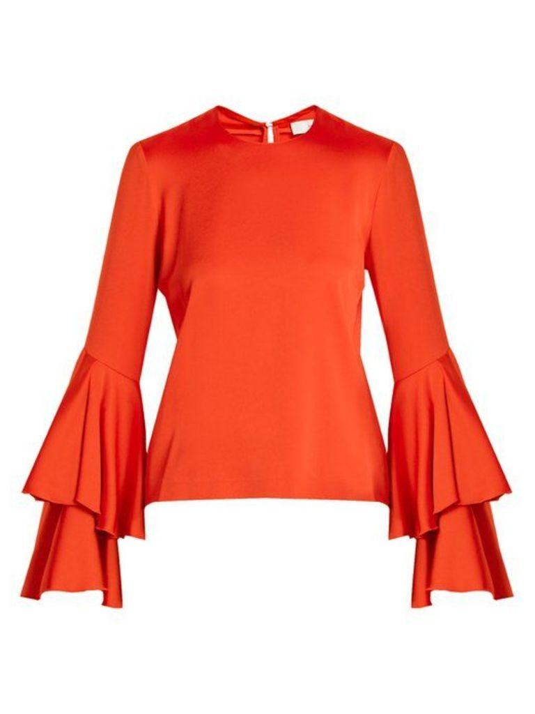 Galvan - Tiered Sleeve Crepe Back Satin Top - Womens - Red
