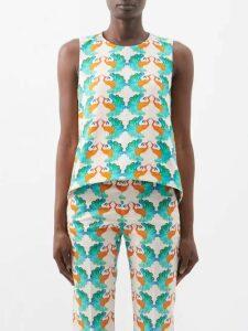 Valentino - Medallion Print Silk Dress - Womens - Burgundy Print