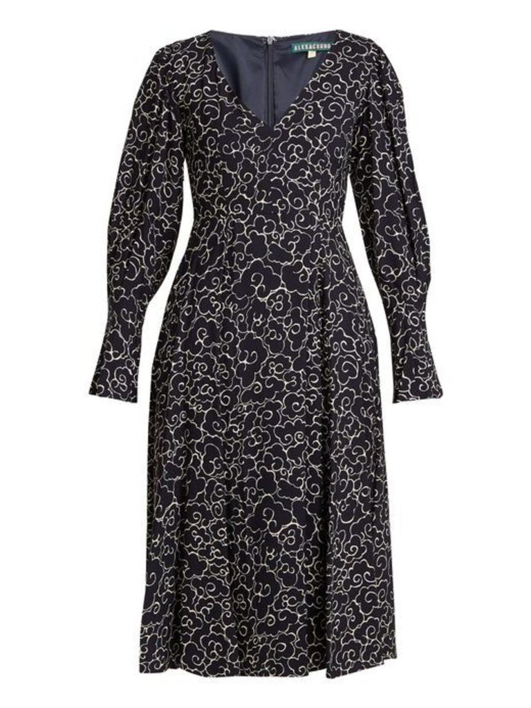 Alexachung - Cloud Print V Neck Crepe Dress - Womens - Navy White