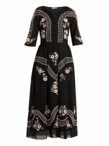 Vilshenko - Geneve Embroidered Short Sleeve Cotton Dress - Womens - Black Multi