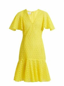 Giambattista Valli - V Neck Floral Macramé Lace Cotton Blend Dress - Womens - Yellow