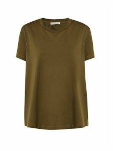 Moncler - Ruffle Trimmed Cotton T Shirt - Womens - Khaki