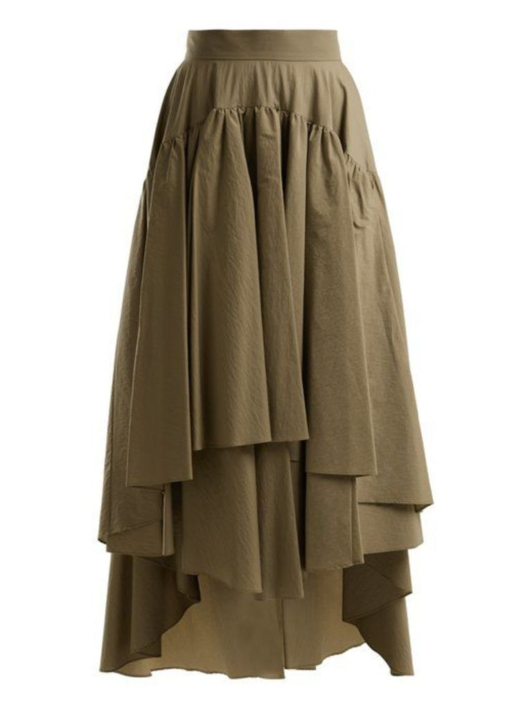 Brunello Cucinelli - Layered Cotton Blend Midi Skirt - Womens - Tan