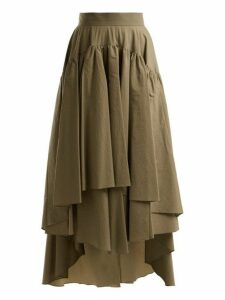 Brunello Cucinelli - Layered Cotton Blend Midi Skirt - Womens - Tan
