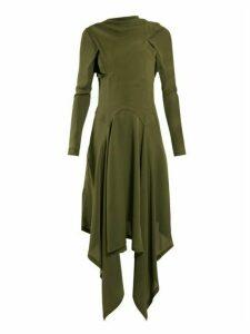 Jw Anderson - Draped Asymmetric High Neck Silk Dress - Womens - Khaki