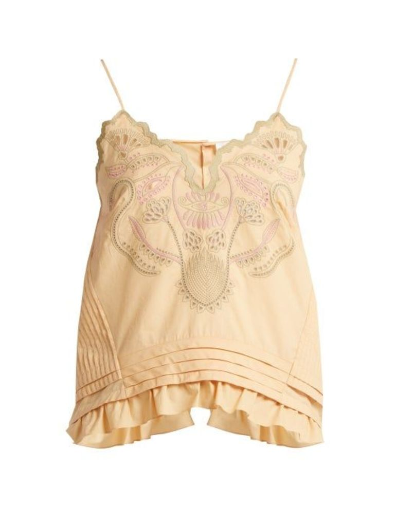 Chloé - Embroidered Cotton Voile Camisole Top - Womens - Beige Multi