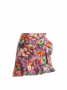 Isabel Marant - Mouna Floral Print Ruffle Trimmed Mini Skirt - Womens - Purple Multi